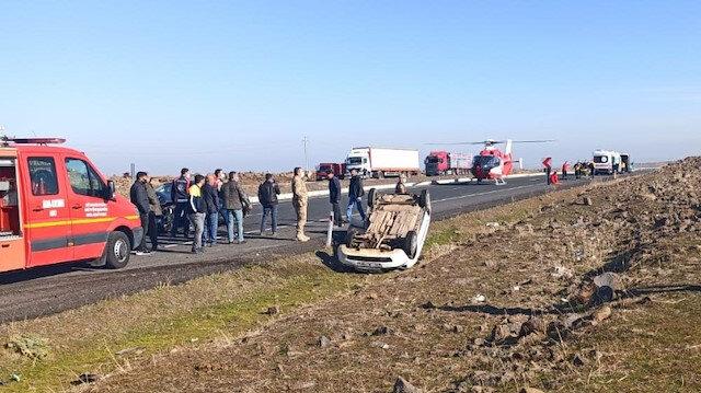 Şanlıurfa'da kaza sonrası olay yerine ambulans helikopter sevk edildi