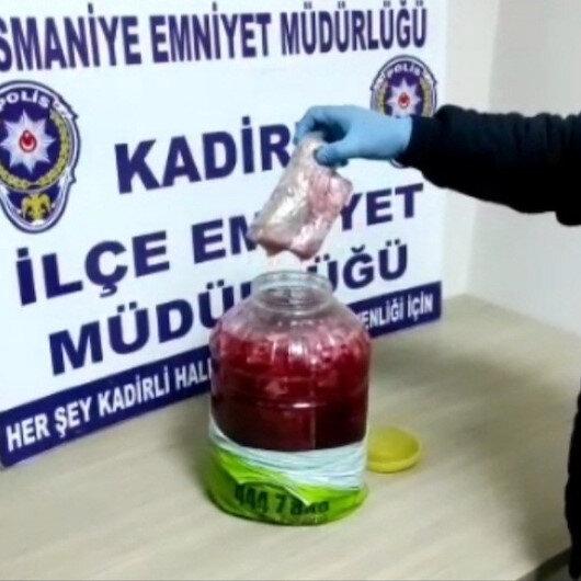 Osmaniyede turşu bidonundan uyuşturucu çıktı