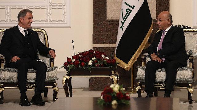 Irak Cumhurbaşkanı Salih Milli Savunma Bakanı Akar'ı kabul etti