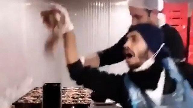 Hazır döner paketleme çalışanlarından mide bulandıran video