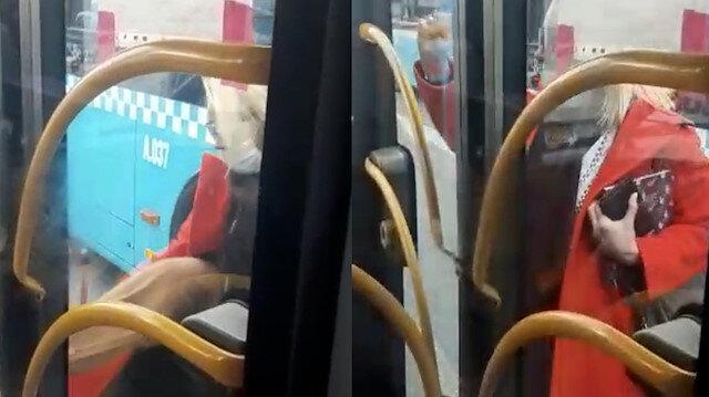 Beşiktaş'ta otobüse binemeyen kadın araca saldırdı