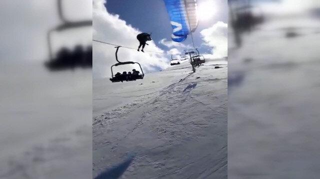 Yamaç paraşütçüsünün teleferik teline takılıp, yere çakılması kamerada