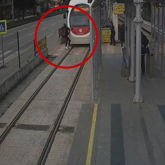 Samsunda tramvay kazaları kameralara yansıdı