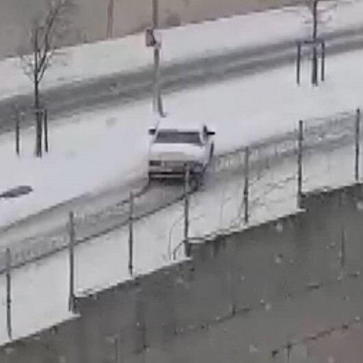 Maltepede kar lastiği olmayan otomobilin zor anları