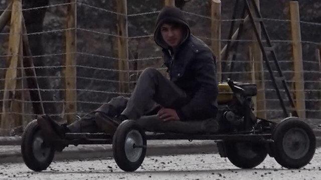Konya'da lise öğrencisi, babasının tamir atölyesinde mini araç yaptı