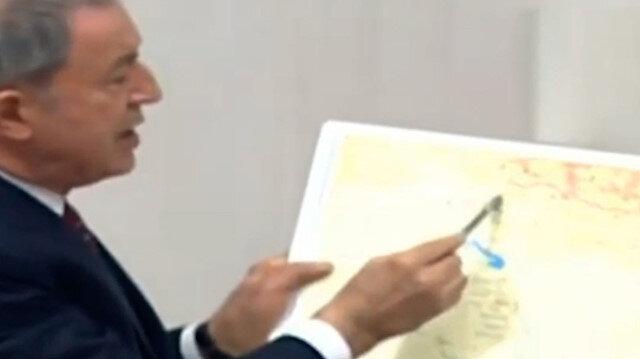 Bakan Akar Gara operasyonunu harita üzerinden anlattı