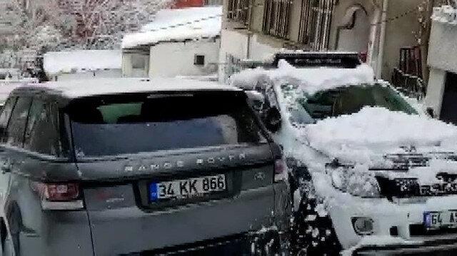 Buzlu yokuşta kayan arazi aracının kaza anları anbean kaydedildi