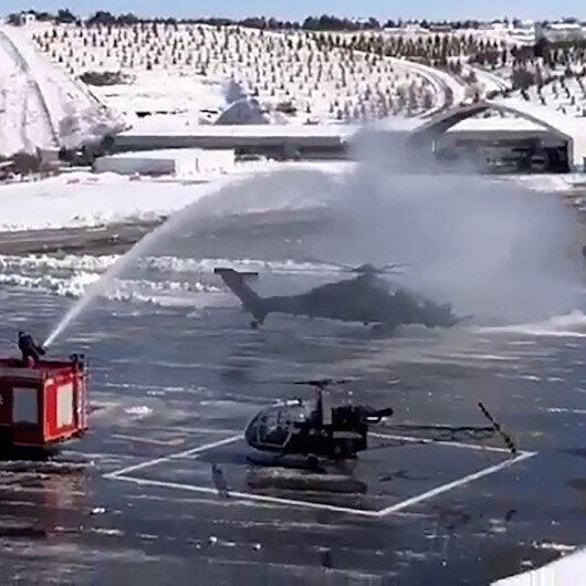 Emniyet Genel Müdürlüğünden ATAK helikopterine su takı töreni