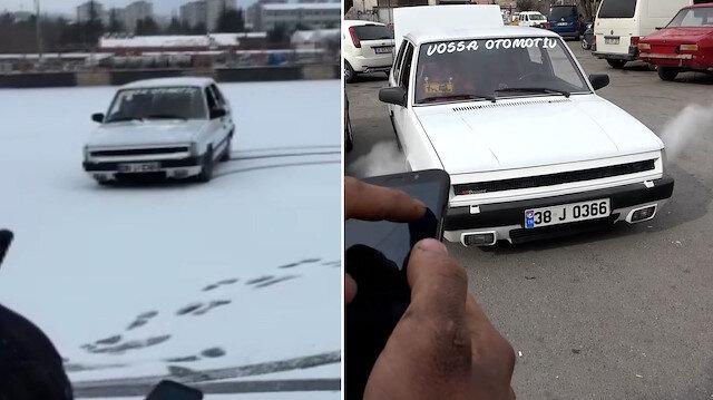 Kayserili oto tamircisi cep telefonu ile kontrol ettiği aracına drift yaptırdı