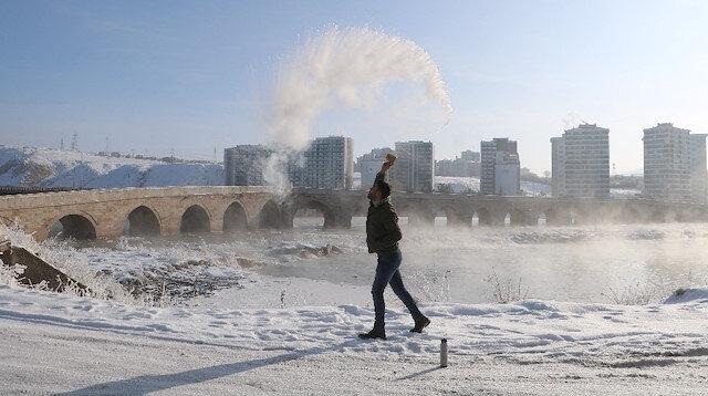 Türkiye'nin en soğuk noktası: Havaya atılan su donuyor