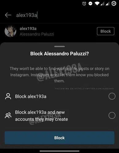 Instagram'ın test aşamasındaki engelleme özelliği, yeni profil oluşturan kişilerde de aynı şekilde devam ediyor.