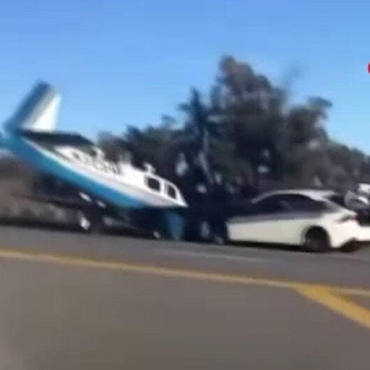 ABDde uçakla otomobil kafa kafaya çarpıştı