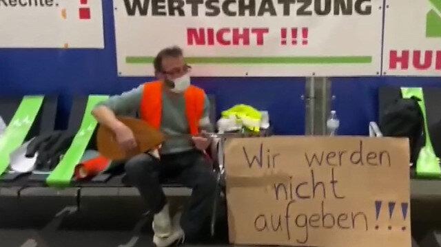 Frankfurt Havalimanı'nda çoğunluğu Türk olan 20 yıllık işçiler açlık grevinde