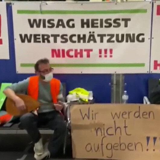 Frankfurt Havalimanında çoğunluğu Türk olan 20 yıllık işçiler açlık grevinde
