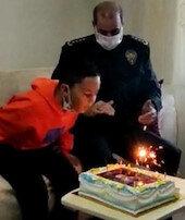 Şehit polis memurunun oğluna doğum günü sürprizi