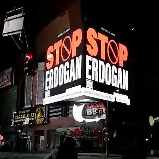 FETÖcülerden alçak propaganda: New Yorktaki panolara Stop Erdoğan yazdırdılar