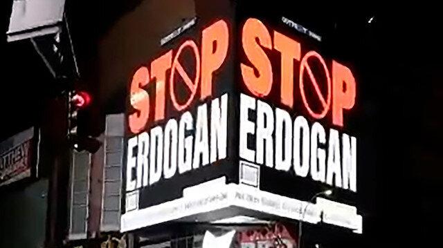 FETÖ'cülerden alçak propaganda: New York'taki panolara 'Stop Erdoğan' yazdırdılar