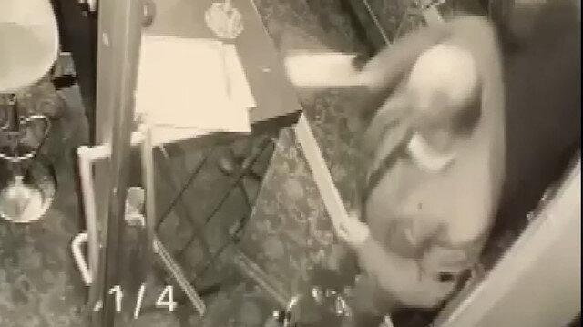 Otele satırlı saldırı güvenlik kamerasında