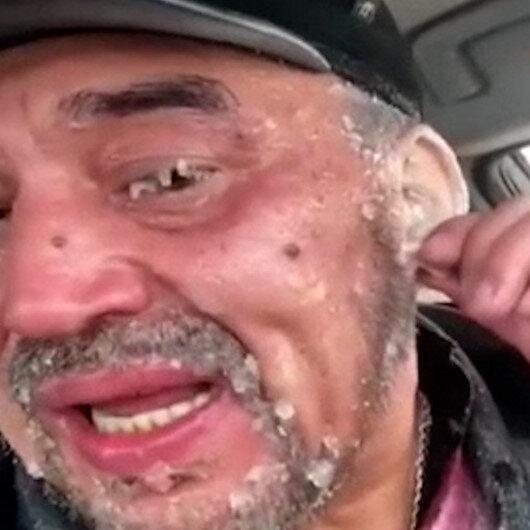 Kazakistanda otoyolda mahsur kalan adamın kulakları dondu