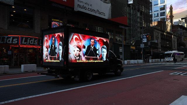 FETÖ'nün ucube ilanına karşılık dijital ekranlı kamyonet: FETÖ'nün gerçek yüzü ABD'lilere izletildi