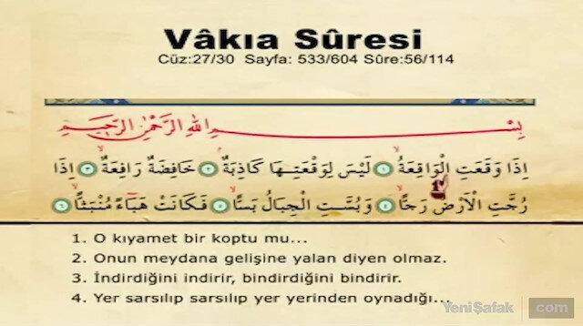 Vakıa Suresi Okunuşu – Vakıa Suresi Duası Arapça Oku ve Dinle | Türkçe Anlamı, Meali ve Faziletleri