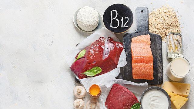 B12: Hayvanî gıdalarda bulunur