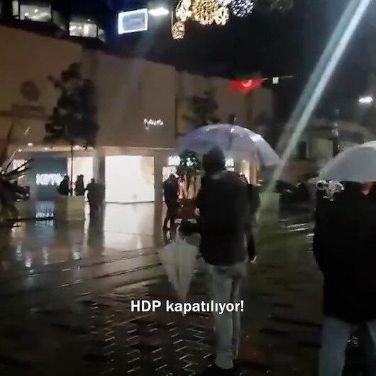 HDPye kapatılma davası açıldığını öğrenen bir vatandaş İstiklal Caddesinde Müjdeler olsun diye bağırdı