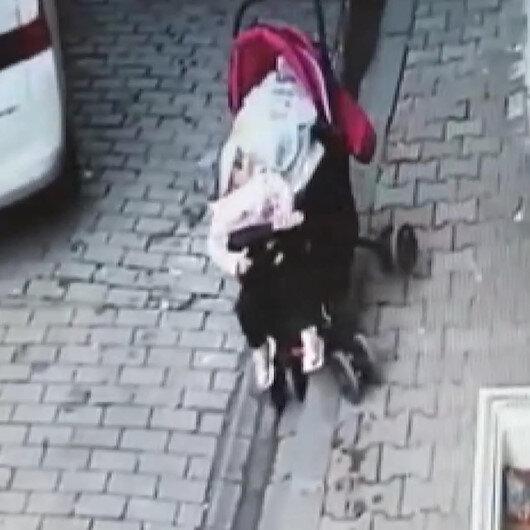 Bebek arabası kayan bebek ezilmekten kıl payı kurtuldu