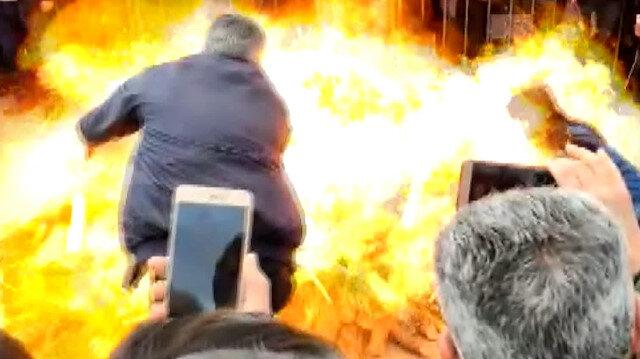 HDP'liler Nevruz ateşi yakmak isterken kendilerini yakıyordu: İki kişinin ölümden döndüğü anlar kamerada