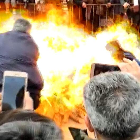 HDPliler Nevruz ateşi yakmak isterken kendilerini yakıyordu: İki kişinin ölümden döndüğü anlar kamerada