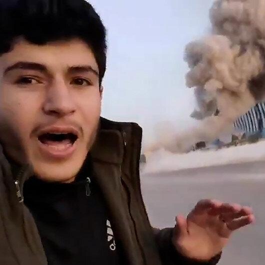 İdlib kırsalına düzenlenen füze saldırısı kamerada