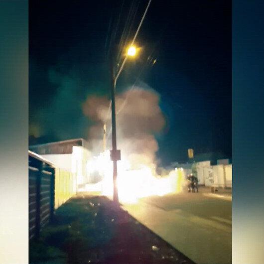 Ukraynada minibüsteki patlama sonucu yangın çıktı