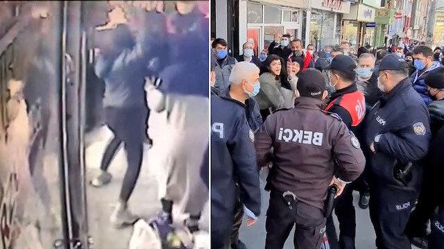Gözaltına alınan ağabeyi için polislere saldırdı: Su atıp, tabure fırlatmaya çalıştığı anlar kamerada