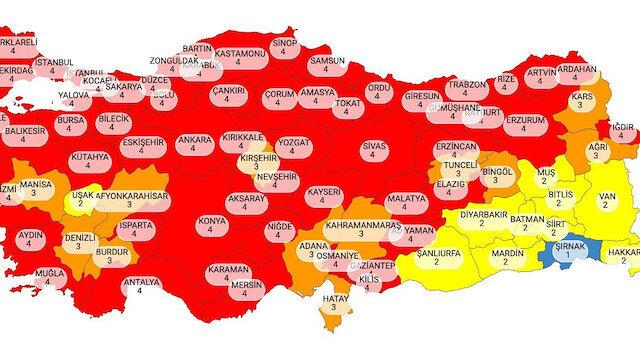 Yeni risk haritası belli oldu: İstanbul dahil 58 il kırmızı oldu