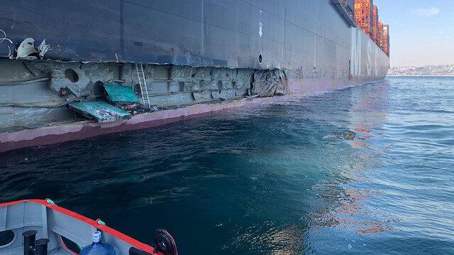 Ambarlı Limanı'nda iskeleye konteyner gemisi çarptı