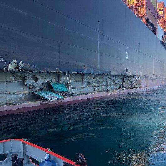Ambarlı Limanında iskeleye konteyner gemisi çarptı