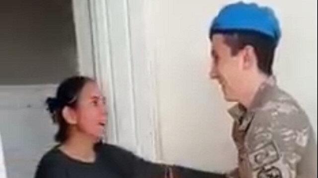 Afrin'de görevli Mehmetçik 10 aydır görmediği annesine doğum günü sürprizi yaptı