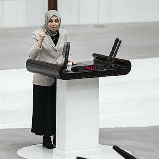 AK Partili Leyla Şahin Usta DHKP-Cyi lanetledi, HDP sıraları ayaklandı