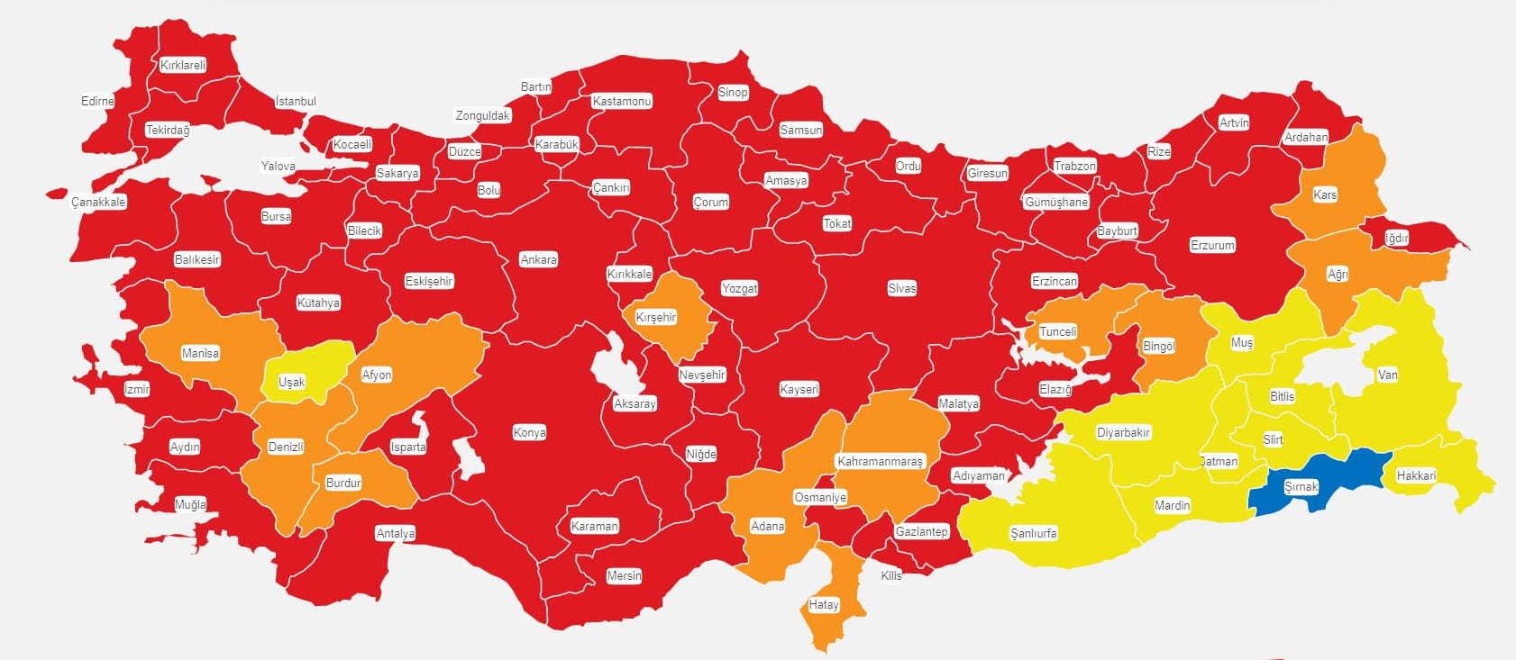 Türkiye risk haritası 2 Nisan 2021