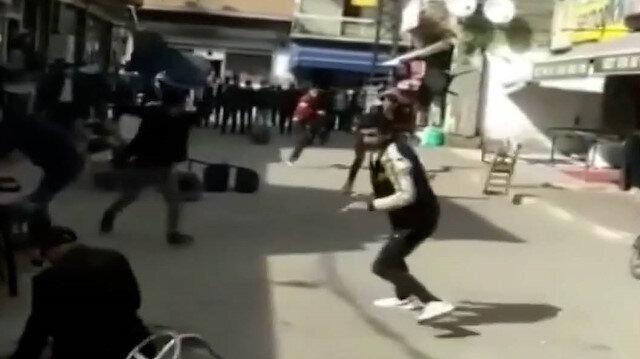 Iğdır'da sandalyelerin havada uçuştuğu kavgada engelli vatandaş arada kaldı