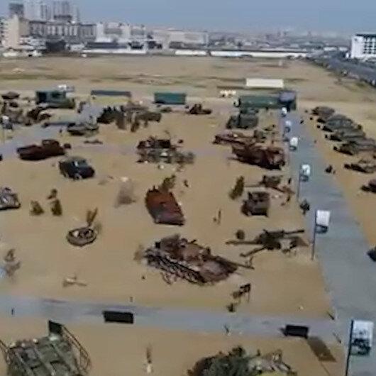 Azerbaycan Cumhurbaşkanı Aliyev Ermenistandan ele geçirilen ganimet araçlarla oluşturulan parkın açılışını yaptı