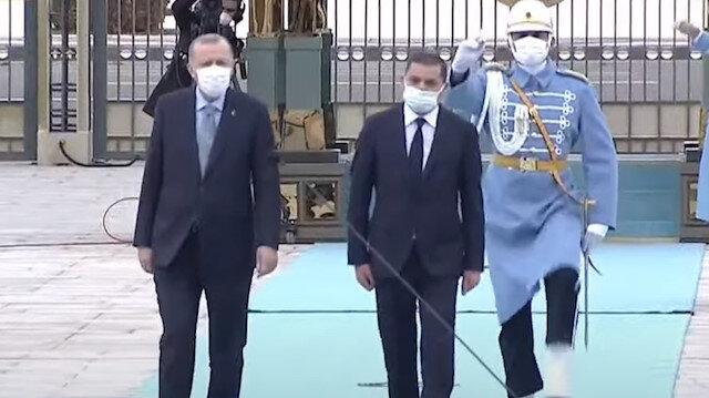 Cumhurbaşkanı Erdoğan, Libya Milli Birlik Hükümeti Başbakanı Dibeybe'yi resmi törenle karşılıyor