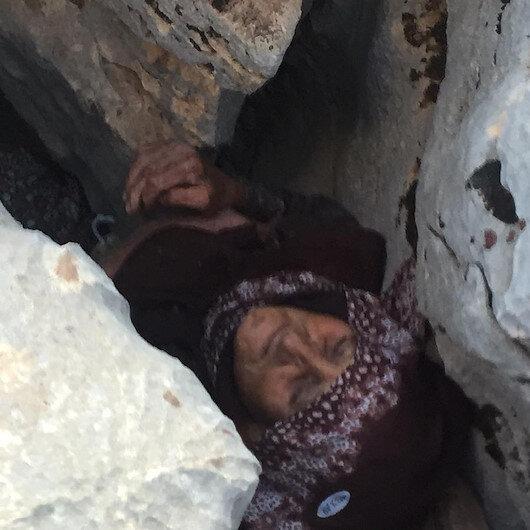 Adıyamanda  3 gün önce kaybolan alzheimer hastası kadın kayalıkların arasında bulundu