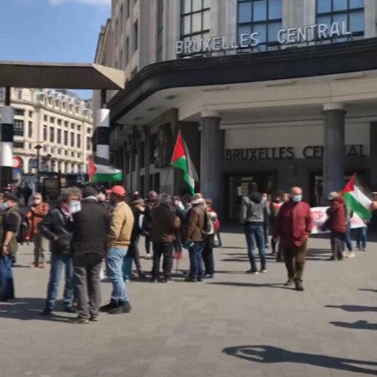 Brükselde İsrail hapishanelerinde tutuklu bulunan Filistinliler için destek gösterisi düzenlendi