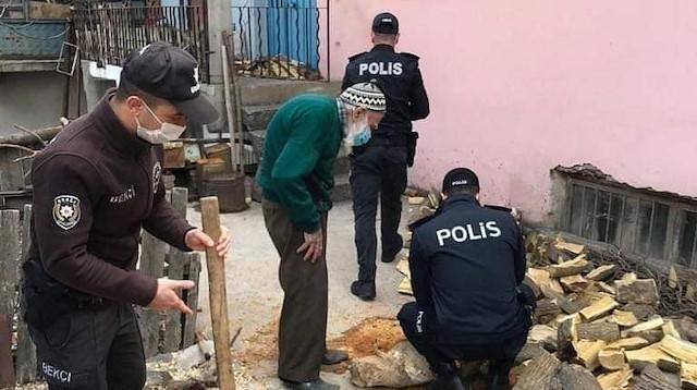 Yaşlı vatandaşın odununu bekçi ve polisler kırdı