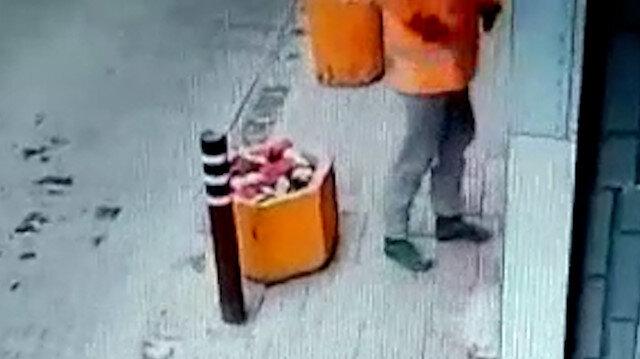 Aydın'da iş yerinin kundaklanma anı kamerada