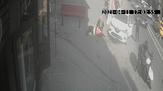 Ortaköy'de turist kadının dehşeti yaşadığı kaza kamerada
