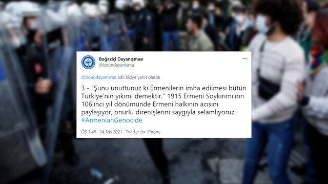 Boğaziçi provokatörlerinden sözde Ermeni soykırımına destek