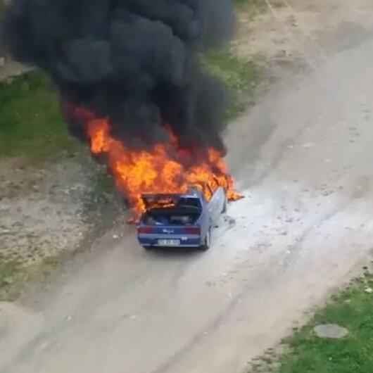 Orduda seyir halindeki otomobil alev alev yandı