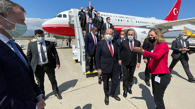 Bakan Çavuşoğlu ve KKTC Cumhurbaşkanı Ersin Tatar Cenevre'de